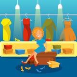 La femme dans des achats de magasin de chaussures pour des chaussures, fille essayant sur des talons dirigent l'illustration Images stock