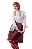 La femme dans l'habillement écossais traditionnel image stock