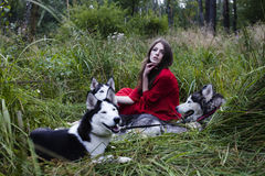 La femme dans la robe rouge avec l'arbre wolfs, forêt, portrait de mystère de chiens de chien de traîneau Photos stock