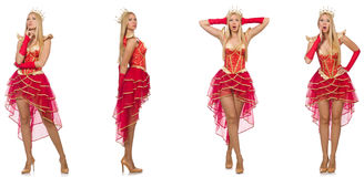 La femme dans la robe rouge d'isolement sur le blanc Photo libre de droits