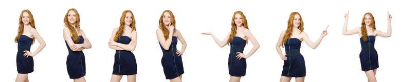 La femme dans le concept de vêtements de mode Photo stock