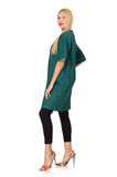 La femme dans le manteau vert d'isolement sur le blanc Photo libre de droits