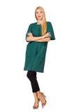 La femme dans le manteau vert d'isolement sur le blanc Photos libres de droits