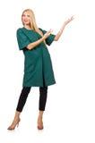 La femme dans le manteau vert d'isolement sur le blanc Photo stock