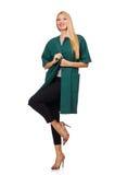 La femme dans le manteau vert d'isolement sur le blanc Image stock