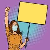 La femme dans le masque médical proteste avec une affiche illustration libre de droits