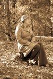 La femme dans le type d'un rétro photo stock