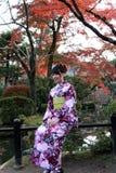 La femme dans la robe de kimono et la ceinture verte se reposant avec le rouge de fond part dans le jardin d'automne au temple de photos stock