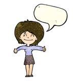 la femme de bande dessinée donnant des pouces lèvent le signe avec la bulle de la parole Photos stock