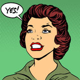 La femme de couleur dit oui style de bandes dessinées d'art de bruit le rétro Photographie stock