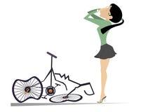 La femme de cycliste et un vélo cassé ont isolé l'illustration illustration de vecteur
