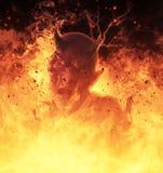 La femme de démon brûle dans une illustration du feu d'enfer 3d Images libres de droits