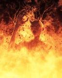 La femme de démon brûle dans une illustration du feu d'enfer 3d Image stock