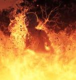 La femme de démon brûle dans une illustration du feu d'enfer 3d Photographie stock