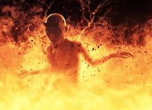 La femme de démon brûle dans une illustration du feu d'enfer 3d Images stock