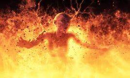 La femme de démon brûle dans une illustration du feu d'enfer 3d Photos stock