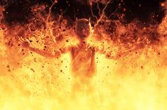 La femme de démon brûle dans une illustration du feu d'enfer 3d Image libre de droits