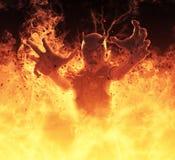 La femme de démon brûle dans une illustration du feu d'enfer 3d Photos libres de droits