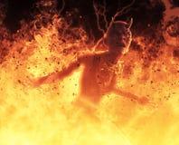 la femme de démon de l'illustration 3D brûle dans un feu d'enfer Photos stock