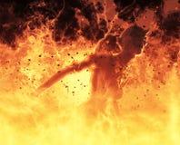 la femme de démon de l'illustration 3D brûle dans un feu d'enfer Images stock