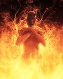 la femme de démon de l'illustration 3D brûle dans un feu d'enfer Photos libres de droits