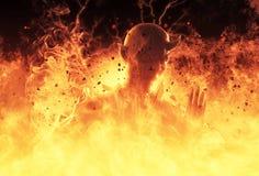 la femme de démon de l'illustration 3D brûle dans un feu d'enfer Images libres de droits