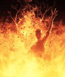 la femme de démon de l'illustration 3D brûle dans un feu d'enfer Photo libre de droits