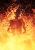 la femme de démon de l'illustration 3D brûle dans un feu d'enfer Photographie stock libre de droits