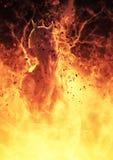 la femme de démon de l'illustration 3D brûle dans un feu d'enfer Image stock