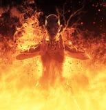 la femme de démon de l'illustration 3D brûle dans un feu d'enfer Photo stock