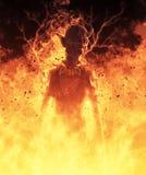 la femme de démon de l'illustration 3D brûle dans un feu d'enfer Image libre de droits