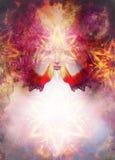 La femme de déesse de belle peinture avec le mandala ornemental et le fond et le désert abstraits de couleur crépitent Photo libre de droits