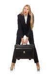 La femme de femme d'affaires voyageant avec la valise Images stock