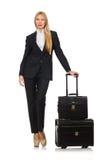 La femme de femme d'affaires voyageant avec la valise Images libres de droits