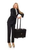 La femme de femme d'affaires voyageant avec la valise Photographie stock