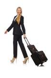 La femme de femme d'affaires voyageant avec la valise Image stock