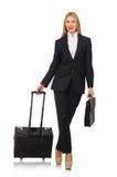 La femme de femme d'affaires voyageant avec la valise Image libre de droits
