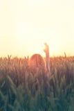 La femme de hippie salue le soleil dans le signe de la liberté Image stock