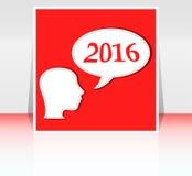 La femme de sourire d'affaires se dirigent avec la bulle de la parole, carte de 2016 ans Images libres de droits