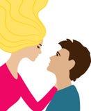 La femme de vol embrasse l'homme, photo colorée de vecteur illustration libre de droits