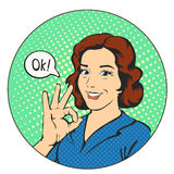 La femme dit correct dans les bandes dessinées d'art de bruit de cercle Photos libres de droits