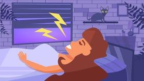 La femme dort vecteur cartoon Art d'isolement Pièce de nuit illustration de vecteur
