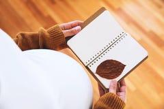 La femme enceinte fait des notes dans le carnet Photographie stock libre de droits