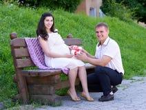 La femme enceinte prend un cadeau de son mari, famille heureuse, couples en parc de ville, saison d'été, herbe verte et arbres Photographie stock libre de droits