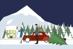 La femme et un homme vont avec des cadeaux à une maison de campagne Photos stock