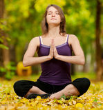 La femme faisant le yoga s'exerce en stationnement d'automne Photo libre de droits