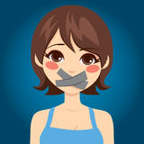 La femme a fait taire la bouche Images libres de droits