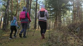 La femme font la marche nordique en nature Les filles et les enfants emploient des bâtons de trekking et des poteaux nordiques, s banque de vidéos