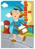 La femme fournissant le courrier - illustration pour les enfants illustration de vecteur