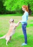 La femme heureuse de propriétaire forme son chien de golden retriever sur l'herbe en été Photo stock